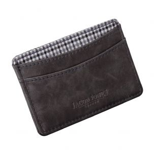 Jacob Jones 73508 Grey ID Card Case With Grey Checker Cotton Lining